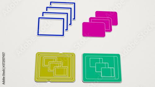 depth perception colorful set of icons, 3D illustration Wallpaper Mural