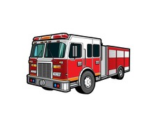 Fire Engine Truck Or Firetruck Car Vector Icon, Firefighter Vehicle. Firefighting Lorry, Fireman Emergency Rescue, Transport, Side Front View Flat Car With Classic Siren Alarm And Water Tank Hose