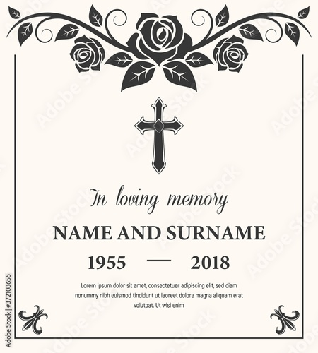 Valokuva Funeral card vector template, condolence flower ornament with cross, name, birth and death dates