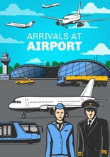 Aviation, Airport With Airplan...