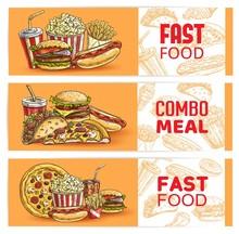 Fast Food Banners Sketch Burge...