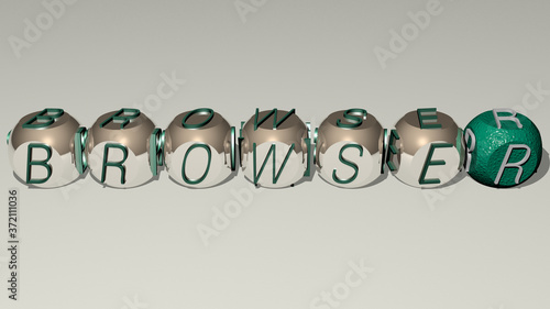 Платно BROWSER text by cubic dice letters, 3D illustration for icon and computer