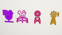 Vane 4 Icons Set, 3D Illustration For Weather And Wind