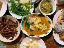 Thai Northern Food Mix Vegetables And Fried Pork Set.