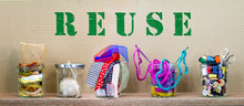 Same Jar Reused For Different Craft Contents, Reuse Text On Cardboard Background, Reduce Waste By Recycling And Reusing For Environmental Sustainable Living, Save Money And Zero Waste