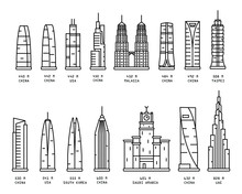 Set Of Highest Skyscraper Thin Icon Isolated On White Background, Simple Line Icon For Your Work.