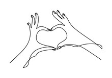 One Continuous Line Drawing Of Hands Showing Love Sign. Woman's Hand Giving Love Symbol With Holding Her Little Finger Minimalism Design Isolated On White Background. Vector Illustration