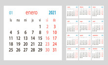 Spanish Сalendar 2021, Week Starts On Monday, Simple Сalendar Template For 2021, Printable Calendar Templates, Vector Illustration.Yearly Planner In Minimal Design.