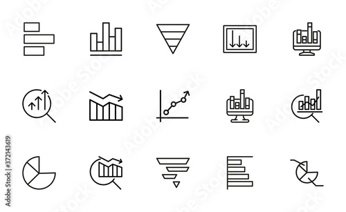 Foto Vector line icons collection of infographic.