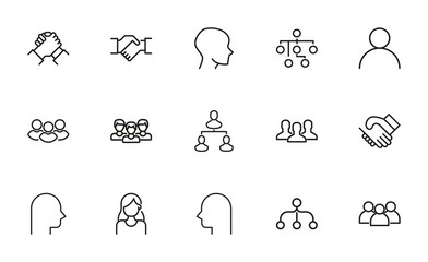 Simple set of team icons in trendy line style.