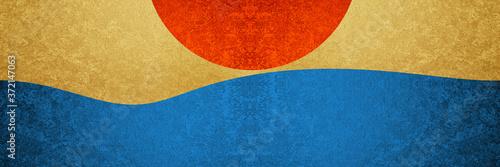 太陽と海 Billede på lærred