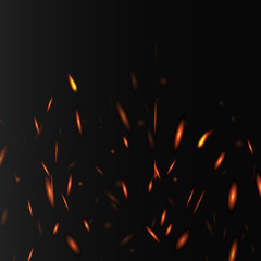 Glowing layout with fire sparkles and lights, realistic vector illustration.
