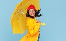 Happy Ethnic Female Dancing Under Rain.