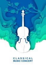 Vector Layered Paper Cut Style Creative Musical Background With Violin Musical Instrument, Music Notes, Birds. Classical Music Concert Vintage Composition For Poster Banner Flyer Invitation.
