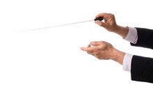 Hands Of Male Conductor On Whi...