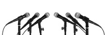 Set Of Different Microphones On White Background