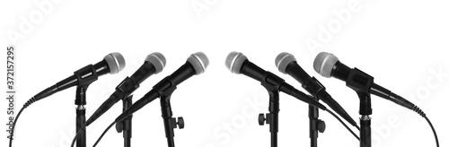 Obraz Set of different microphones on white background - fototapety do salonu