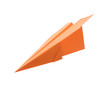 Handmade orange paper plane isolated on white