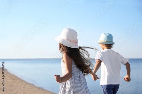 Obraz na plátne Cute little children running at sandy beach on sunny day