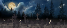 Misty Cemetery With Old Creepy Headstones Under Full Moon. Halloween Banner Design
