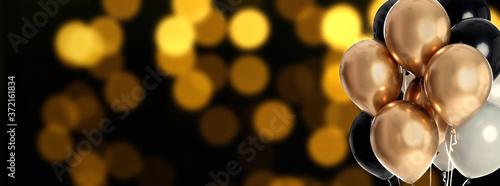 Bright balloons on color background with bokeh effect, space for text Billede på lærred