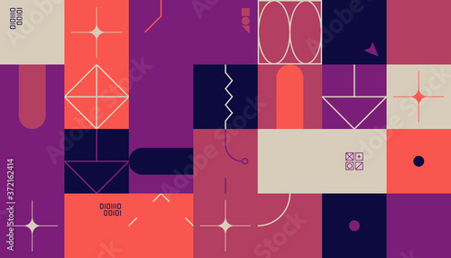 Brutalism Design Abstract Vector Pattern Tableau sur Toile