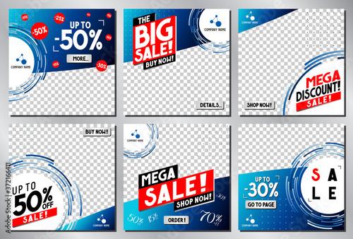 Social media advertisement - sale template - vector illustration Billede på lærred