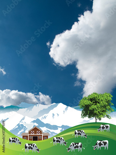 Photo Picturesque rural scene with a herd of cows grazing on summer mountainous lowlan