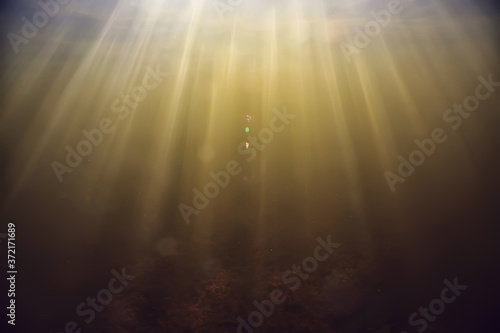 Canvastavla rays of light underwater fresh lake, abstract background nature landscape sun wa