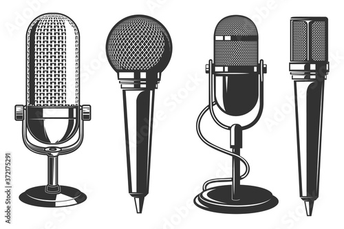 Fotografia Set of illustrations of microphone in retro style