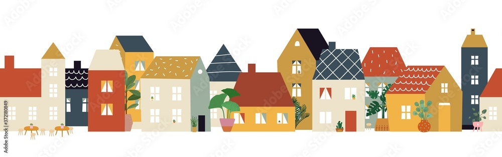 Fototapeta European city street pattern. Restaurant cafe district, house facade banner. Flat neighborhood, cute tiny buildings and plants, home or shop front view illustration. Old town vector building city