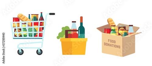 Slika na platnu Shopping food carts