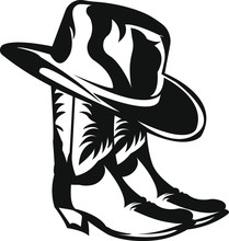 Silhouette Of A Cowboy Hat And Cowboy Boots