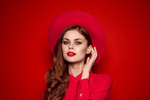 Woman In Red Shirt With Bright...