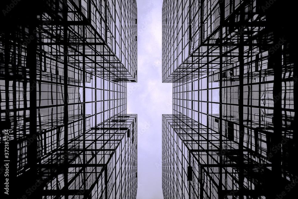Fototapeta Portrait of Minimalist Building Architecture | Black & White