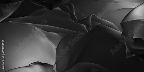 Fotografie, Obraz Liquid black smooth material 3d rendering background texture illustration