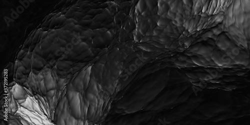 Fotografie, Obraz Black and white water 3d rendering background illustration