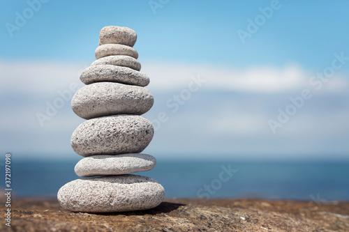 Fotografía Zen balanced stone stack background