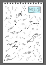 Vector Set Of Hand Drawn Assorted Arrows In Sketch Doodle Style Isolated On White. Hand Written Lettering With Arrows. Collection Of Arrows Elements For Your Business Design Infographic Icons