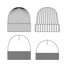 Template Beanie Illustration Flat Design Outline Template Clothing Collection Hat
