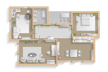 Apartment Floor Plan. (top View) Furnished Flat. (view From Above) Interior Architecture. Living Room, Bedroom, Kitchen, Bathroom, Office.