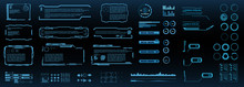 Set Of Futuristic Digital HUD Elements For User Interface. Callouts, Frames, Pointers, Circles, Arrows, Headers. Vector Elements
