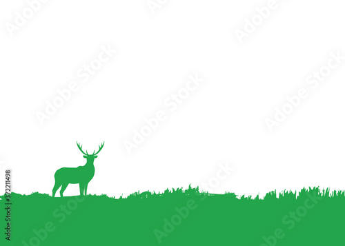 Fotografiet Simple flat background with deer silhouette standing in grass