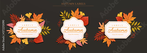 Foto Autumn foliage label design