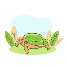 Turtle Resting On Lawn. Relaxed Old Animal With Green Shell Dozing Calmly In Sunny Meadow Enjoyable After Dinner Rest Natural Vector Design.