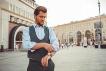 Businessman Working Walking Ar...