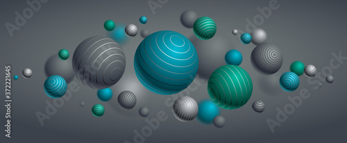 Fotografie, Tablou Abstract spheres vector background, composition of flying balls decorated with lines, 3D mixed realistic globes, realistic depth of field effect