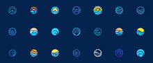 Sea Water Wave Logo Design Set, Graphic Element For Logo