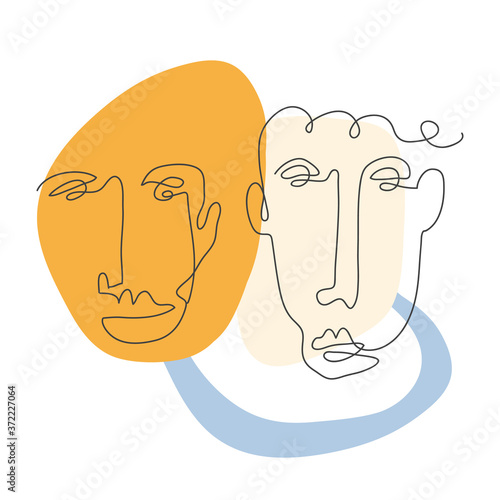 Obrazy Picasso  modern-poster-with-linear-abstract-faces-continuous-line-art-one-line-drawing-minimalist