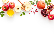 Rosh Hashana Postcard Template With Apple Ahoney And Pomegranate